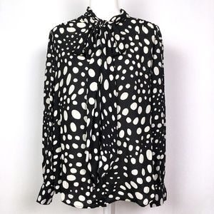 Who What Wear Random Dot Pussy Bow Blouse